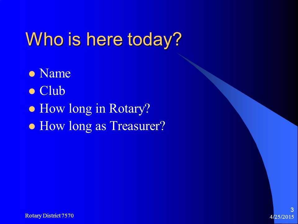 Who is here today Name Club How long in Rotary