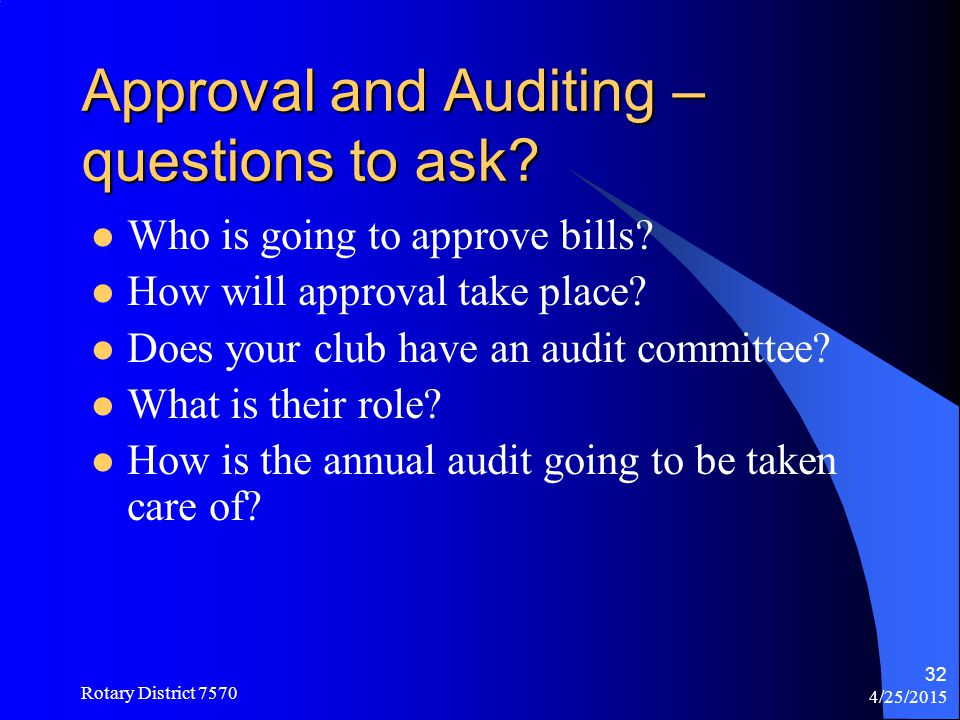 Approval and Auditing – questions to ask
