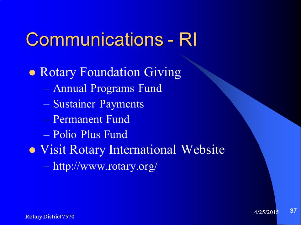 Communications - RI Rotary Foundation Giving