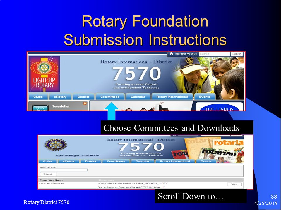Rotary Foundation Submission Instructions
