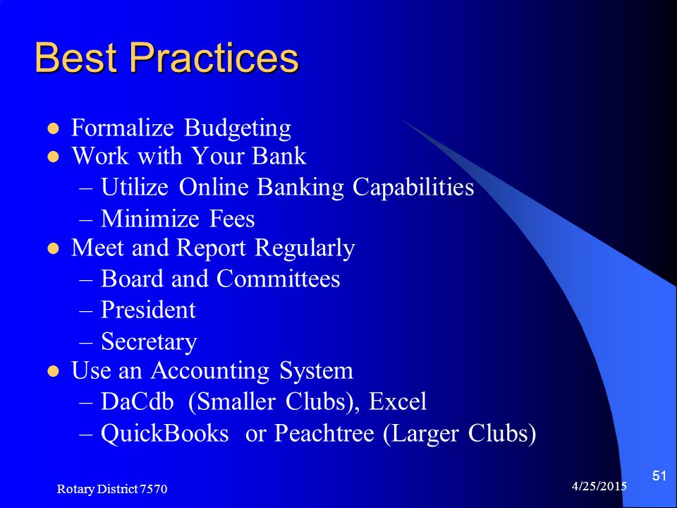 Best Practices Formalize Budgeting Work with Your Bank