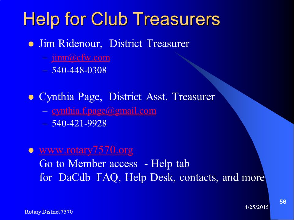 Help for Club Treasurers