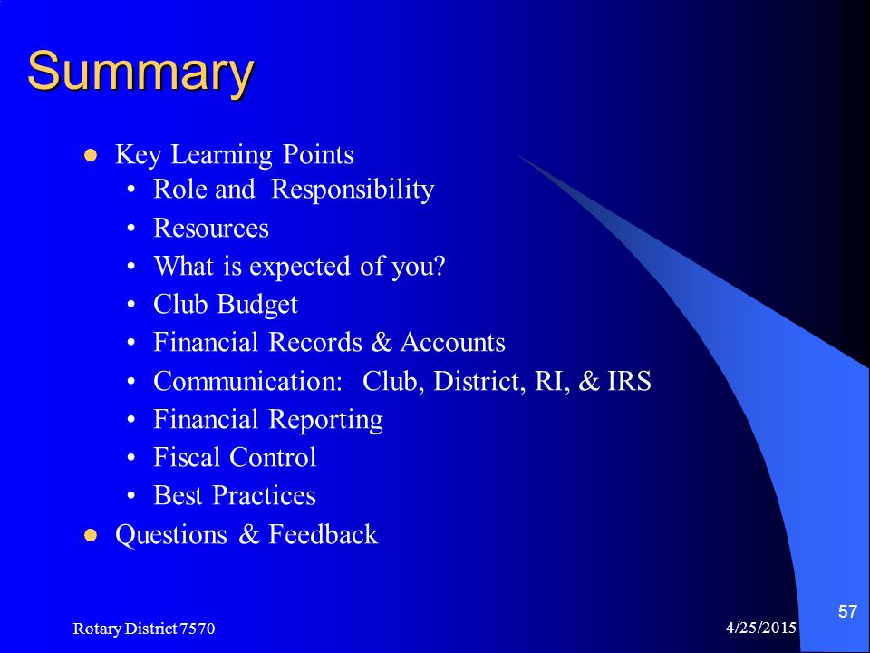 Summary Key Learning Points Role and Responsibility Resources