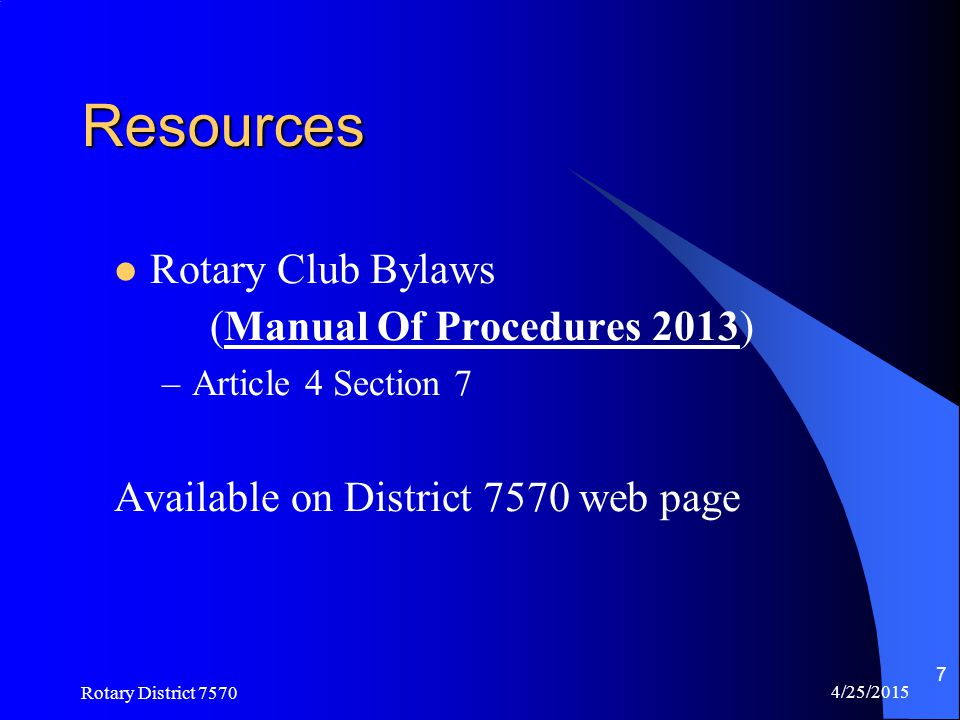 Resources Rotary Club Bylaws (Manual Of Procedures 2013)