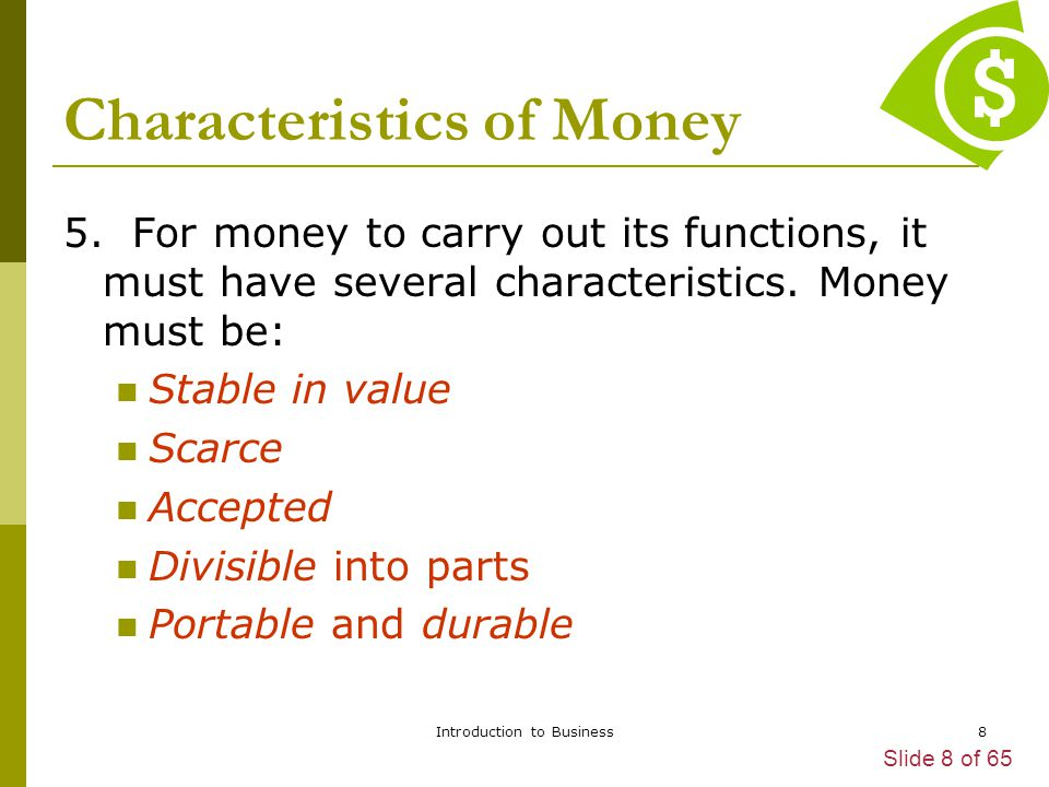 Characteristics of Money
