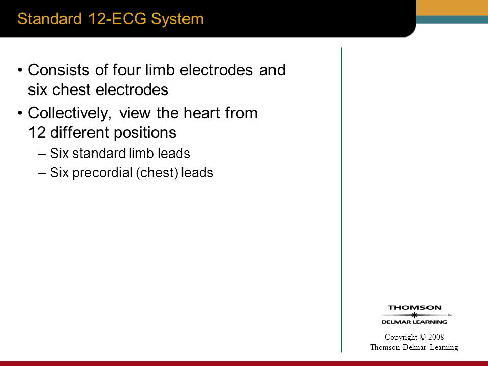 Consists of four limb electrodes and six chest electrodes