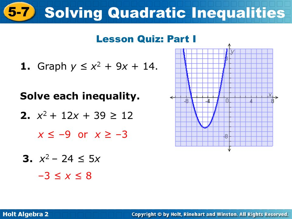 Objectives Solve Quadratic Inequalities By Using Tables And Graphs