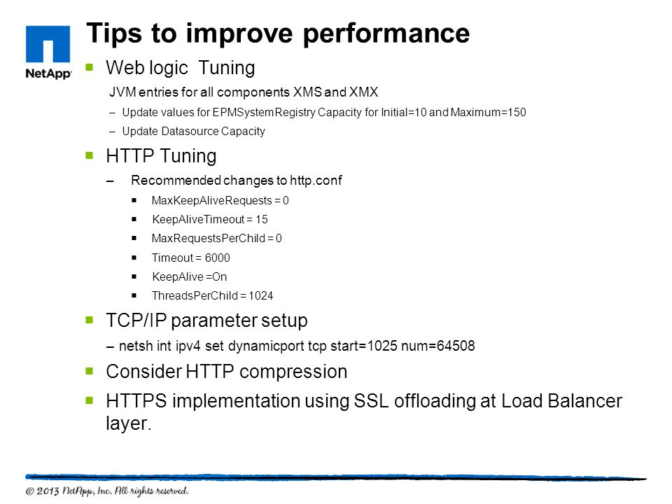 Tips to improve performance
