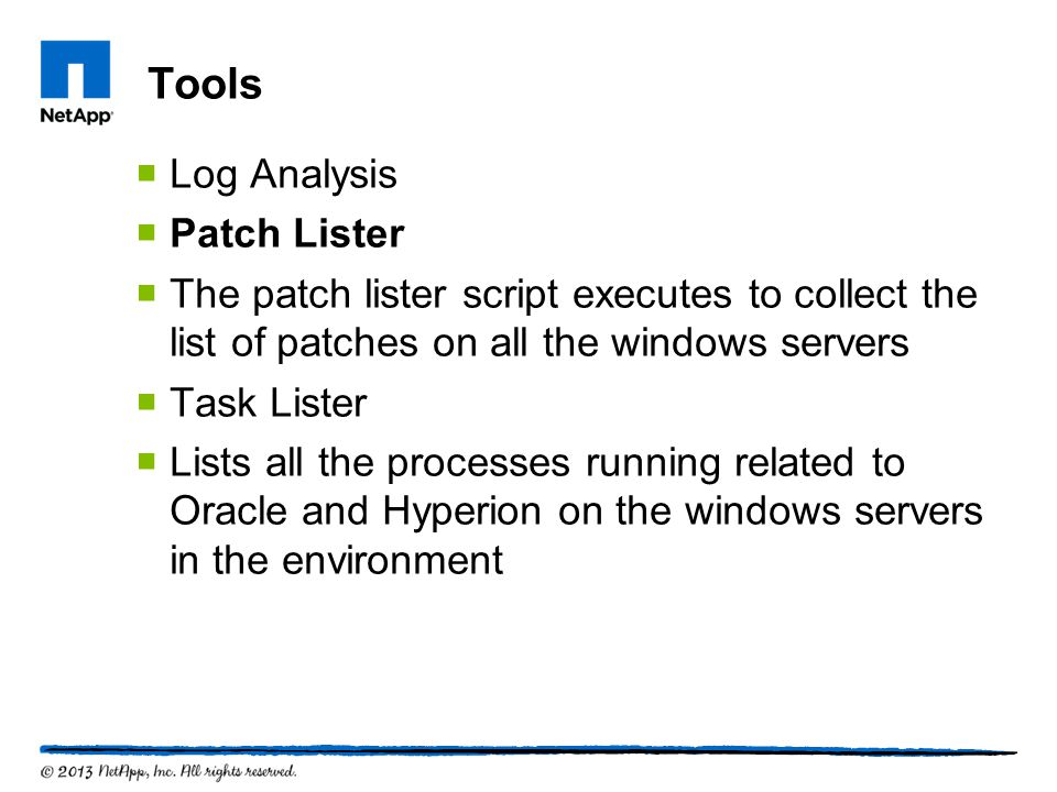 Tools Log Analysis Patch Lister