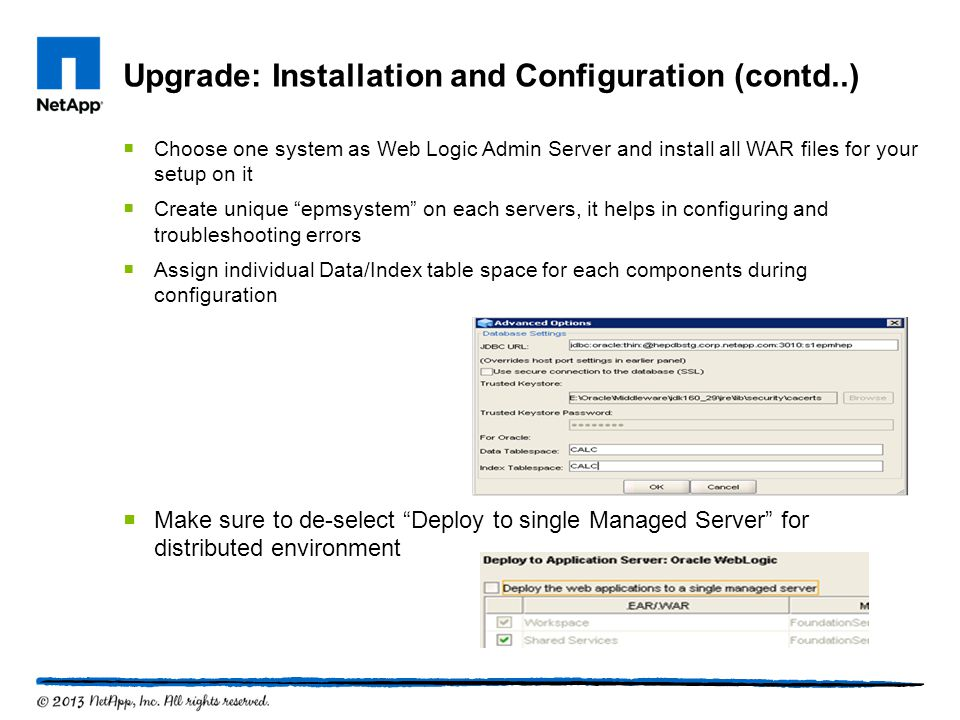 Upgrade: Installation and Configuration (contd..)