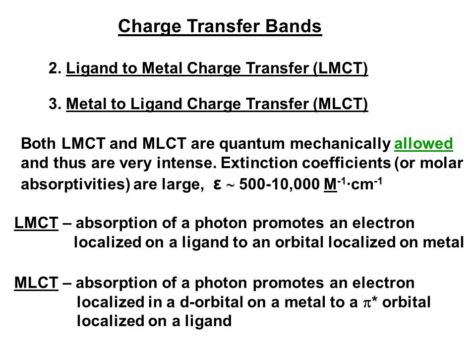 Charge Transfer Bands 2. Ligand to Metal Charge Transfer (LMCT)