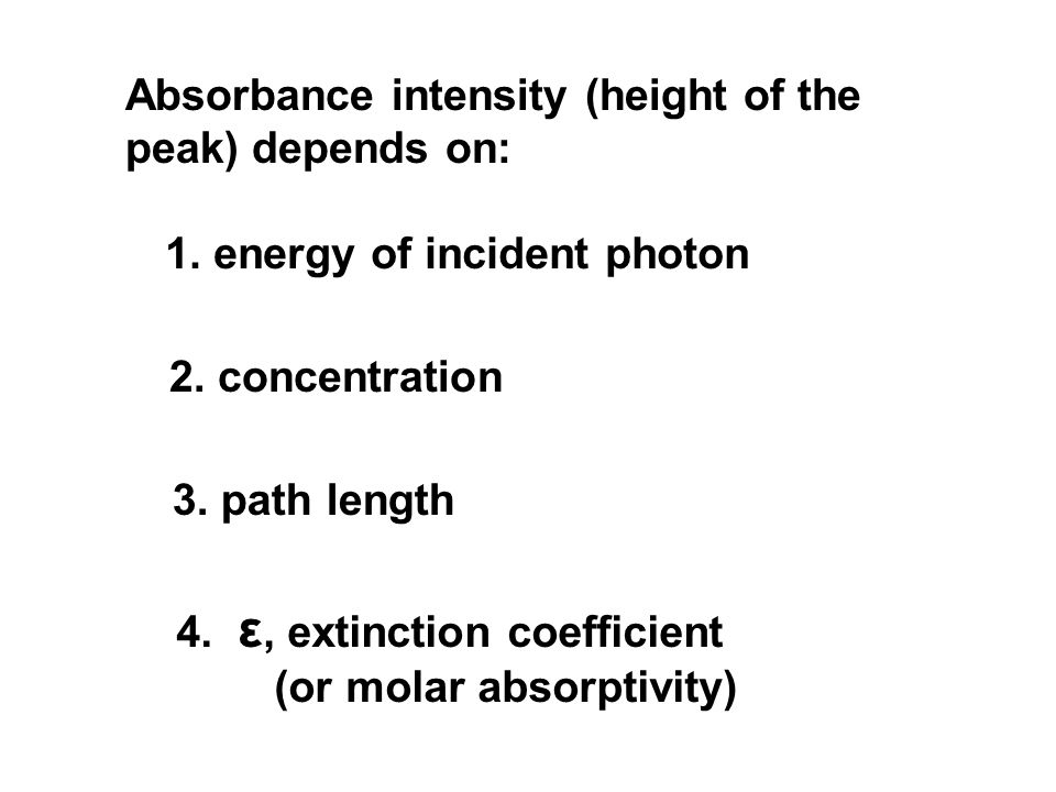 Absorbance intensity (height of the peak) depends on: