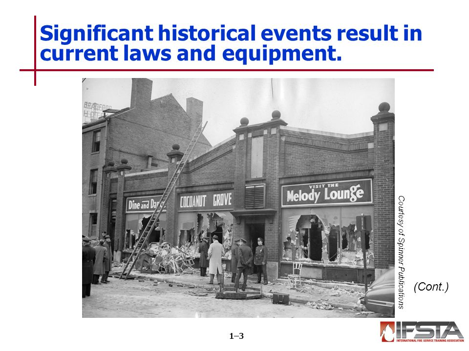 Significant historical events result in current laws and equipment.
