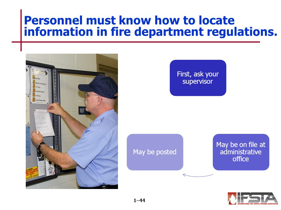 The fire service is regulated by a variety of rules and procedures.