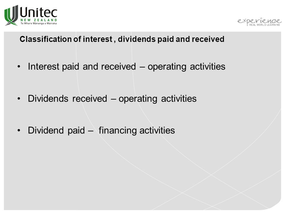 Classification of interest , dividends paid and received