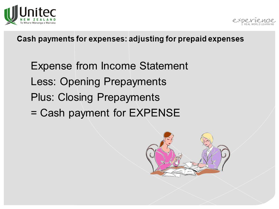 Cash payments for expenses: adjusting for prepaid expenses