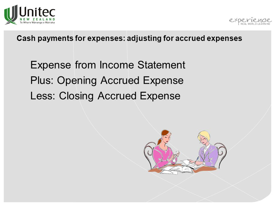 Cash payments for expenses: adjusting for accrued expenses