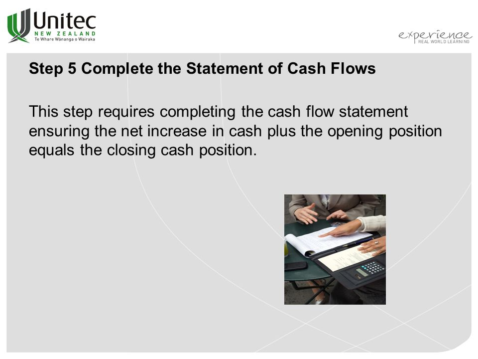Step 5 Complete the Statement of Cash Flows