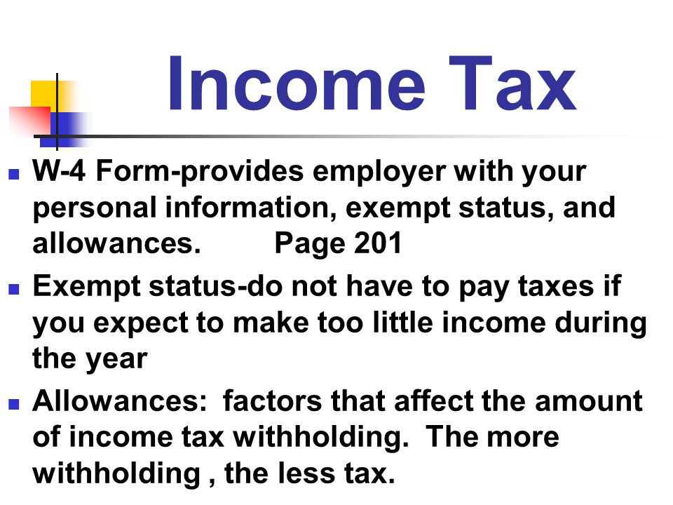 Income Tax W-4 Form-provides employer with your personal information, exempt status, and allowances. Page 201.