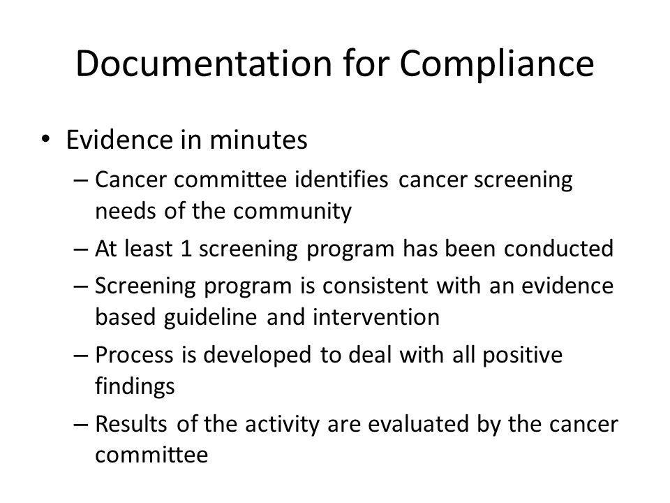 Documentation for Compliance