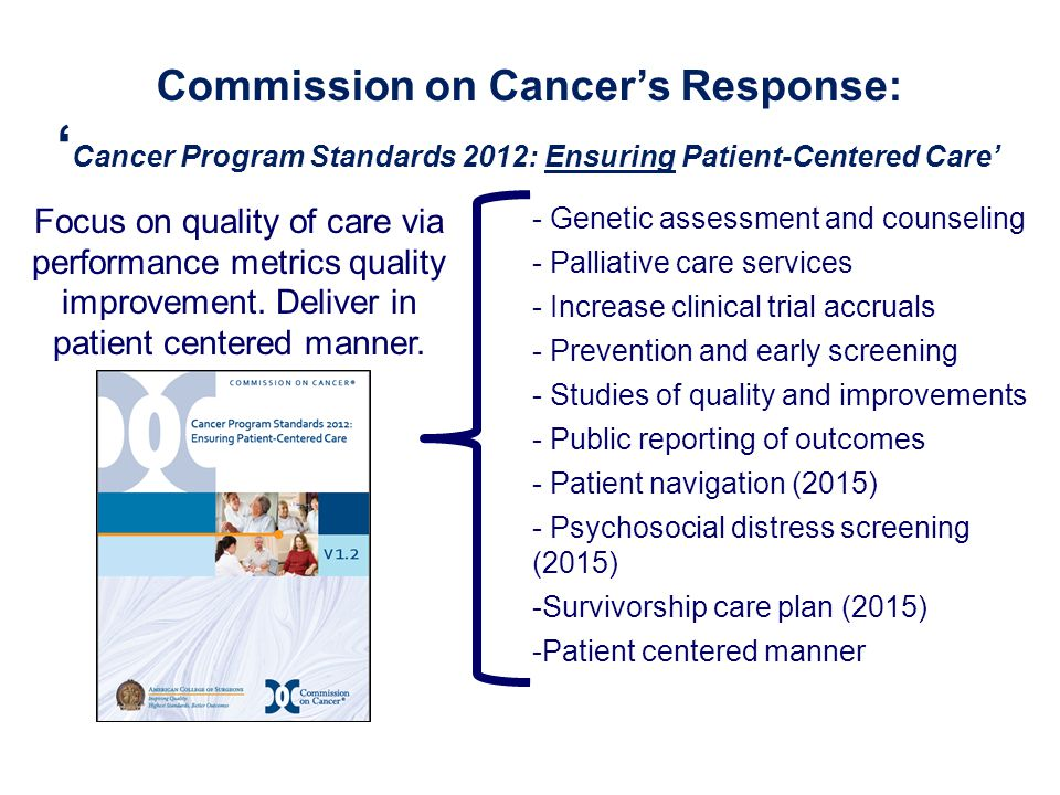 Commission on Cancer's Response: 'Cancer Program Standards 2012: Ensuring Patient-Centered Care'