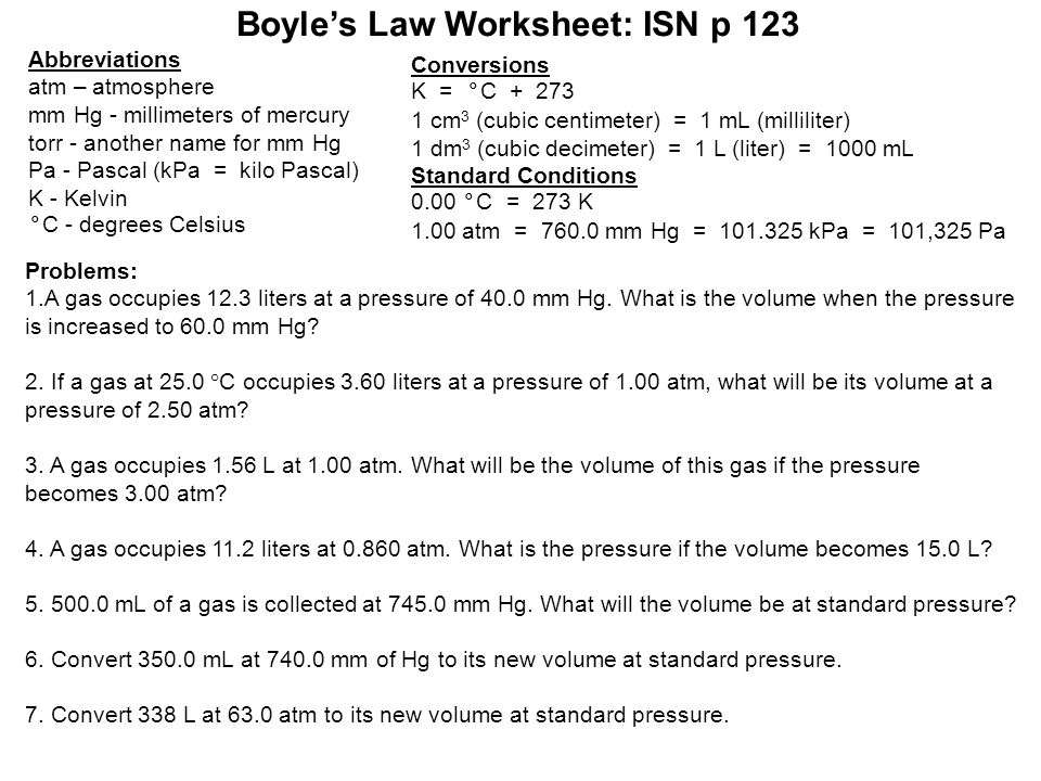 Use Your Textbooks To Plete The Chart Below On Page 122 In. 19 Boyle's Law Worksheet. Worksheet. Boyle S Law Worksheet At Mspartners.co