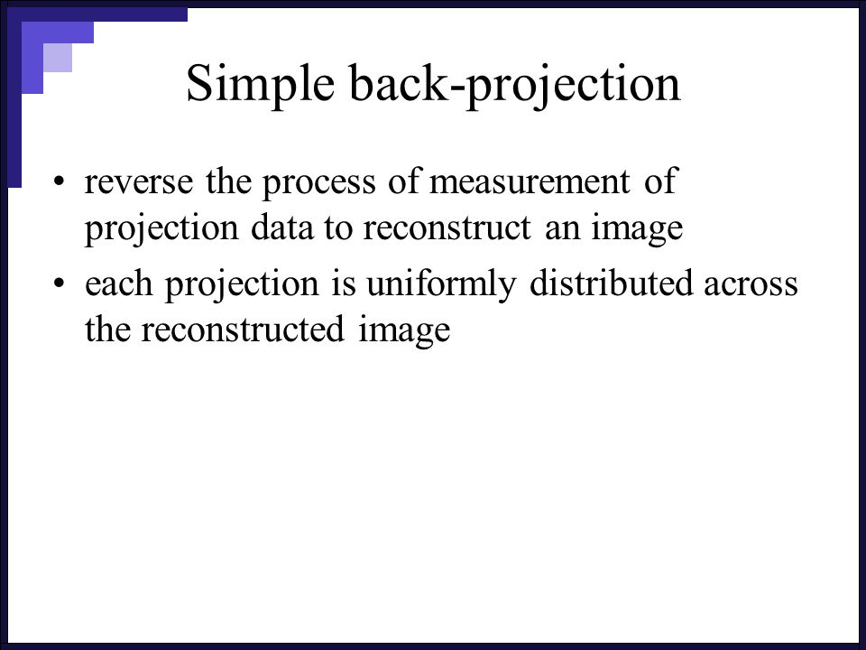 Simple back-projection