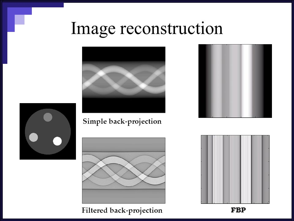 Image reconstruction Simple back-projection Filtered back-projection