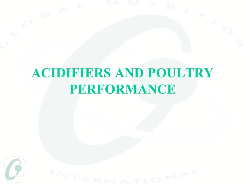 GLOBACID FOR POULTRY GLOBACID  Acidifier