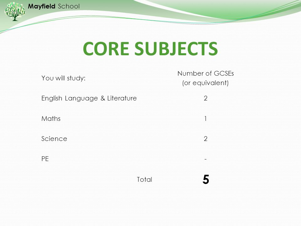 CORE SUBJECTS 5 You will study: Number of GCSEs (or equivalent)