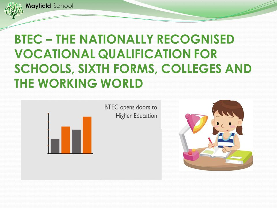 BTEC – THE NATIONALLY RECOGNISED VOCATIONAL QUALIFICATION FOR SCHOOLS, SIXTH FORMS, COLLEGES AND THE WORKING WORLD