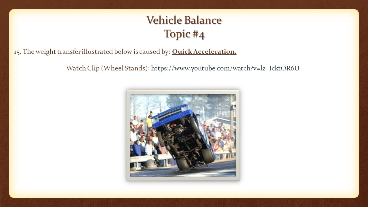 Vehicle Balance Topic #4