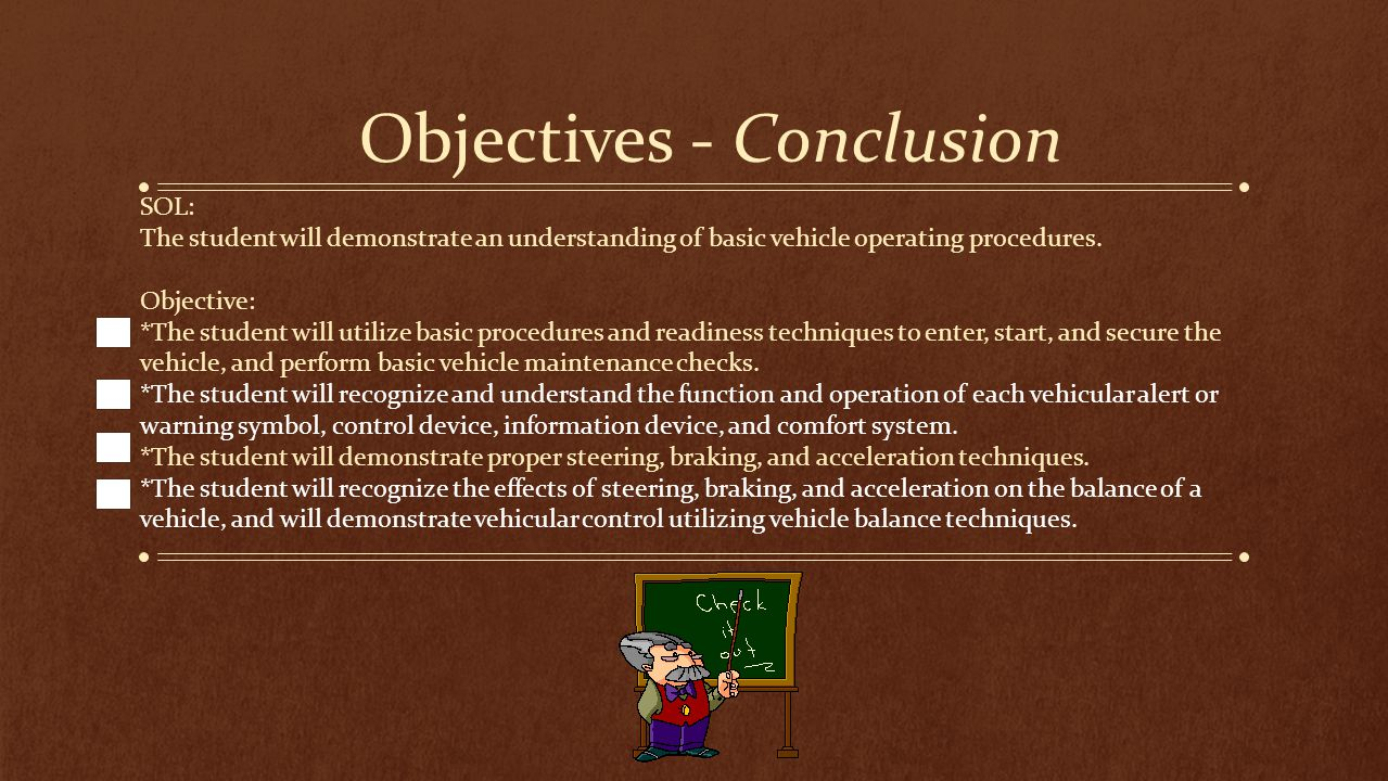 Objectives - Conclusion