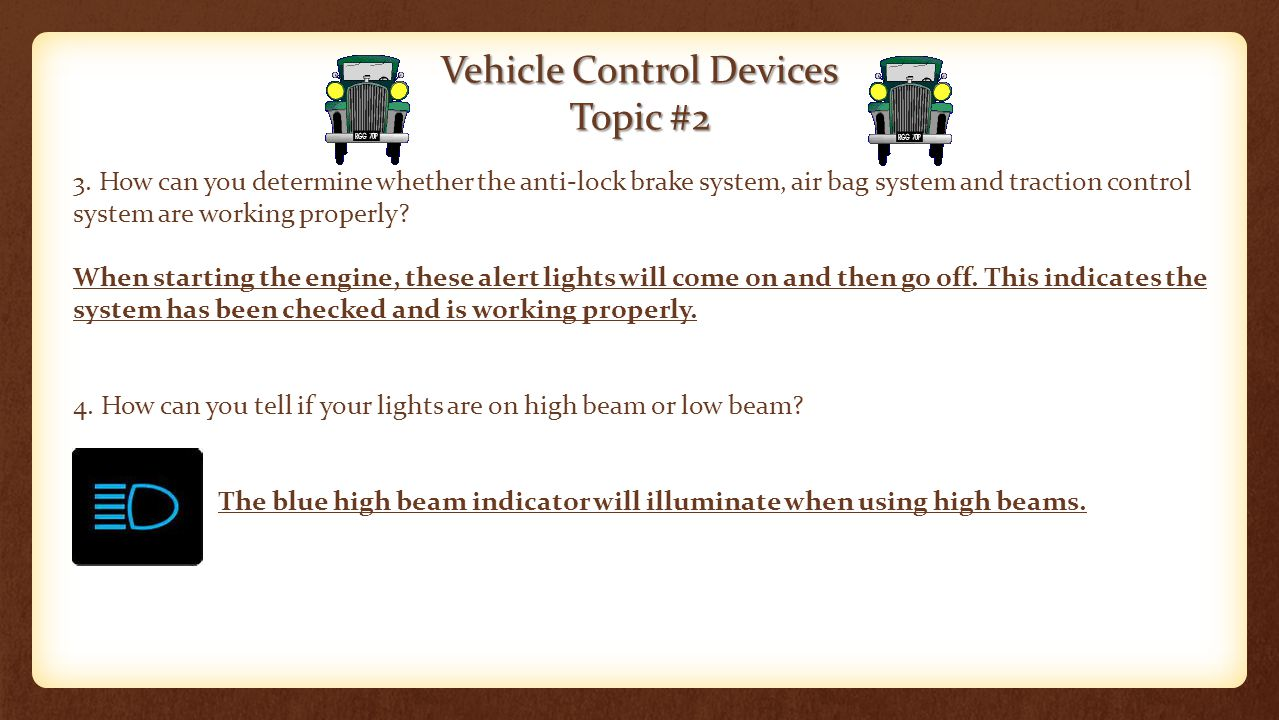 Vehicle Control Devices Topic #2