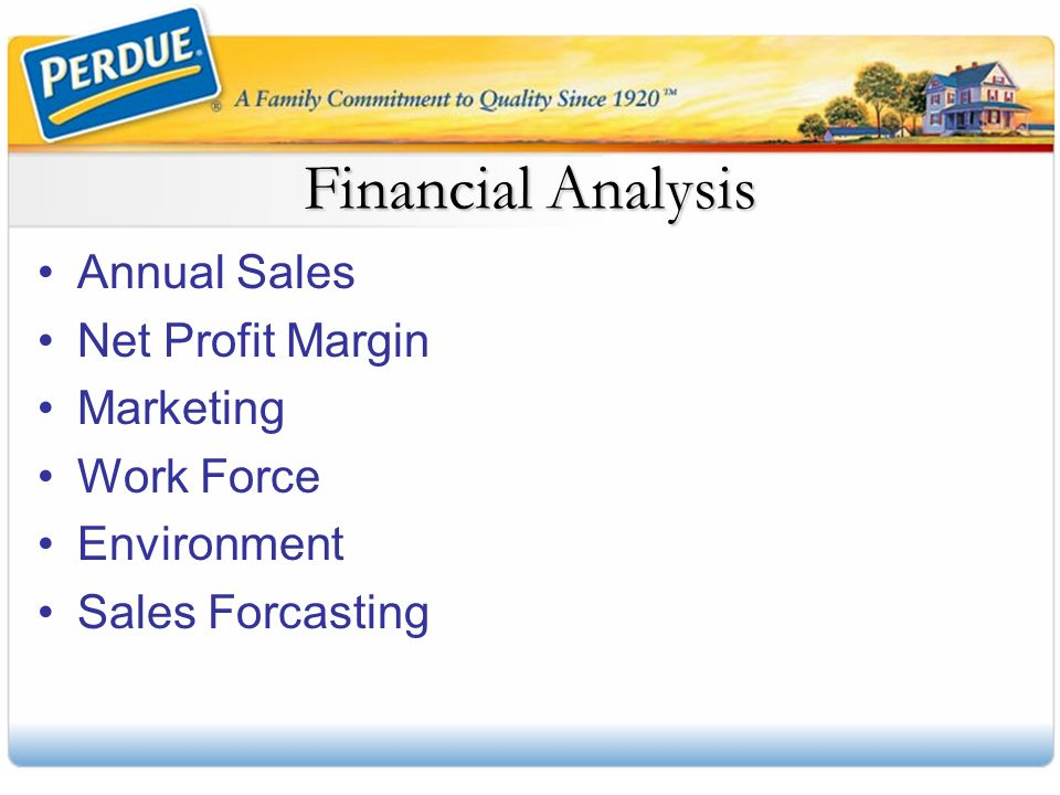 Financial Analysis Annual Sales Net Profit Margin Marketing Work Force