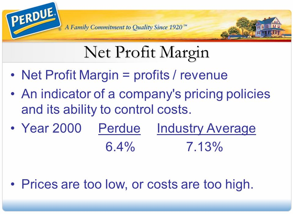 Net Profit Margin Net Profit Margin = profits / revenue