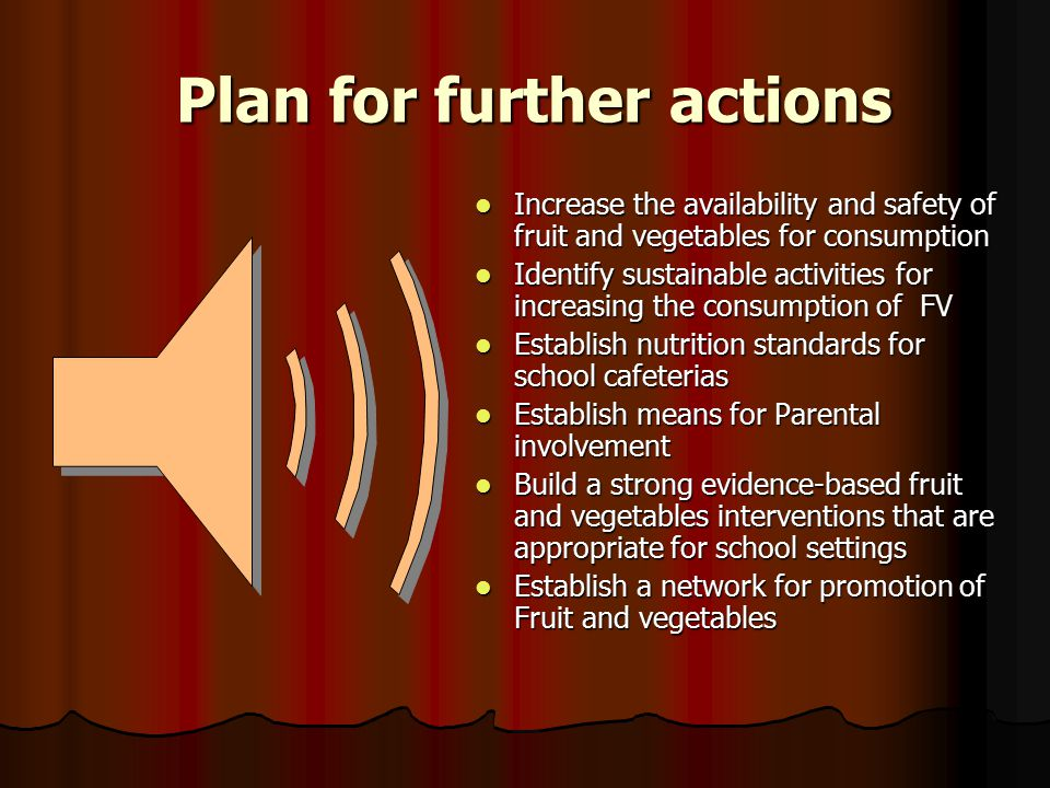 Plan for further actions