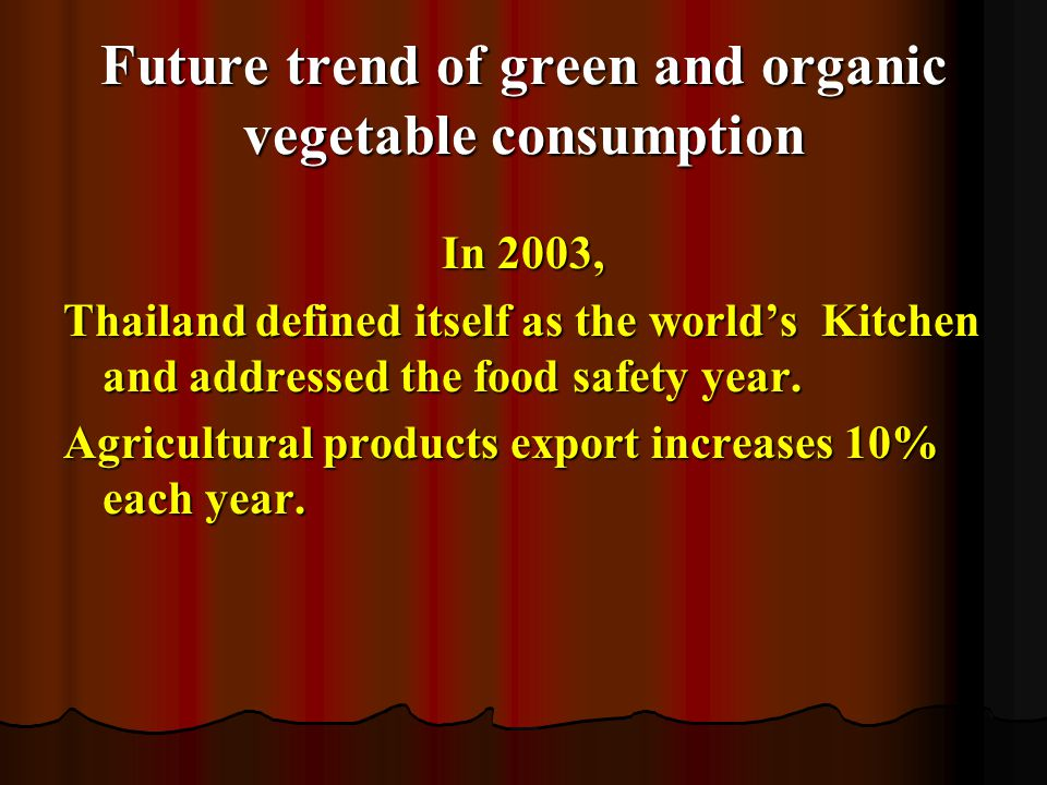 Future trend of green and organic vegetable consumption