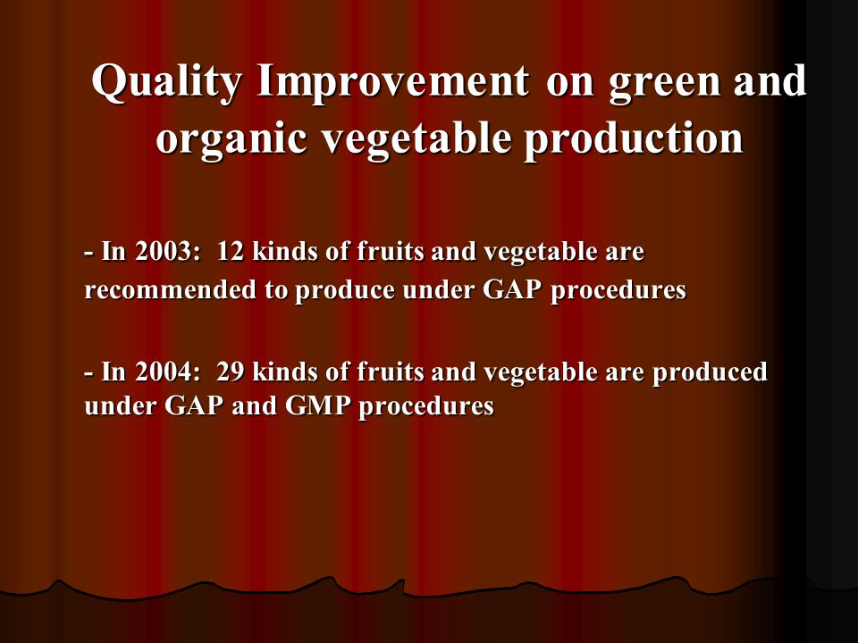 Quality Improvement on green and organic vegetable production