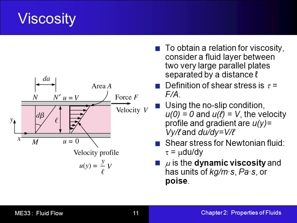 Viscosity To obtain a relation for viscosity, consider a fluid layer between two very large parallel plates separated by a distance ℓ.