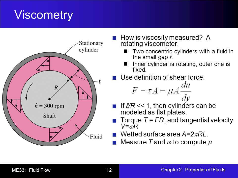 Viscometry How is viscosity measured A rotating viscometer.