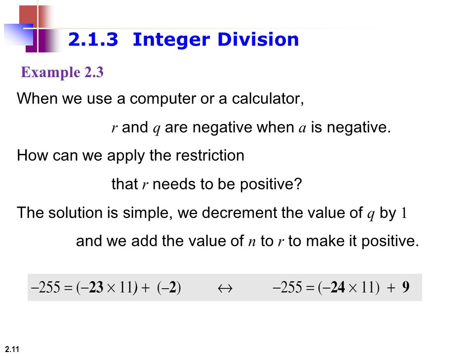 2.1.3 Integer Division Example 2.3