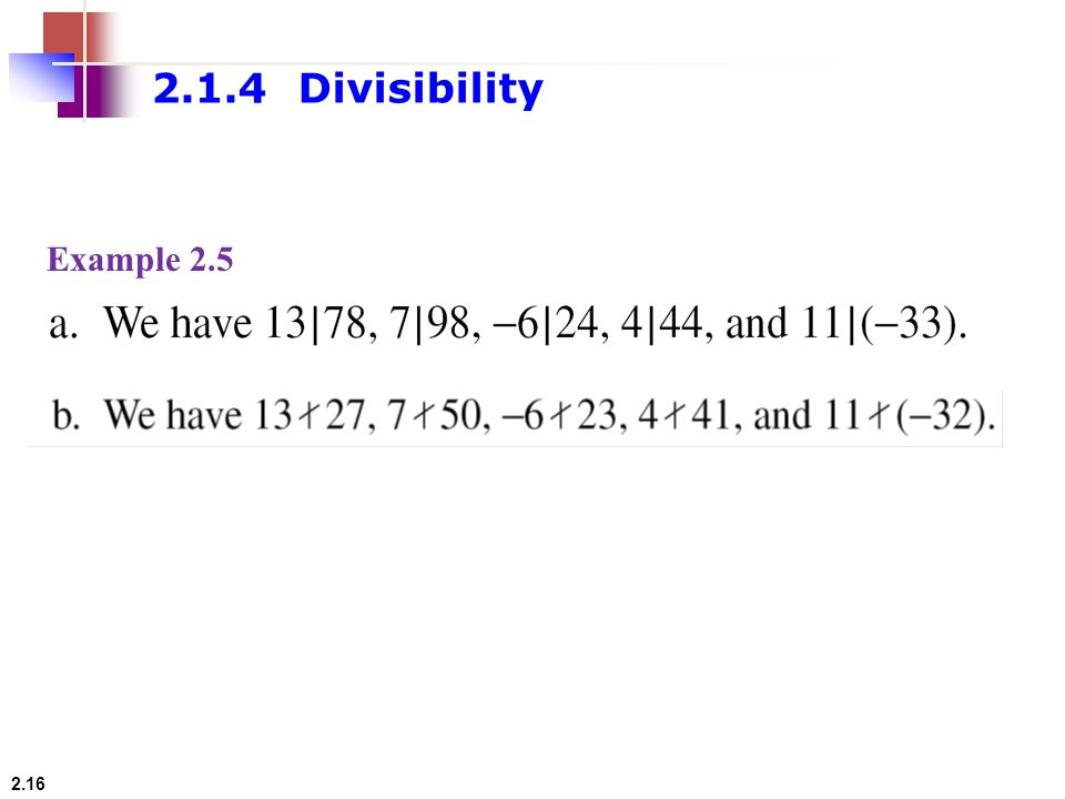2.1.4 Divisibility Example 2.5
