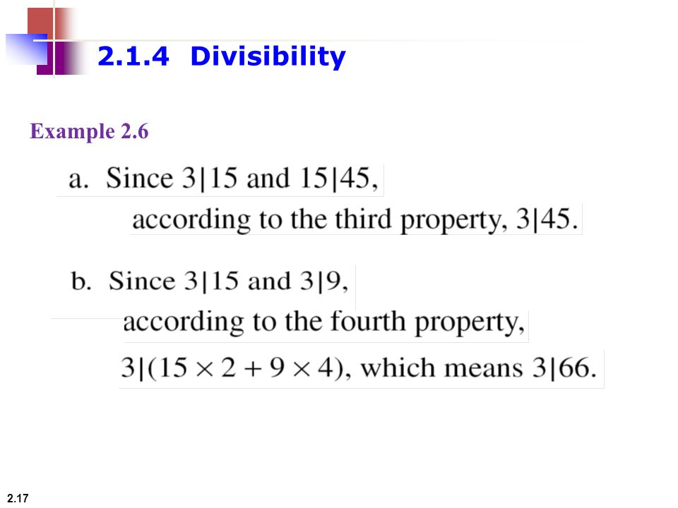 2.1.4 Divisibility Example 2.6