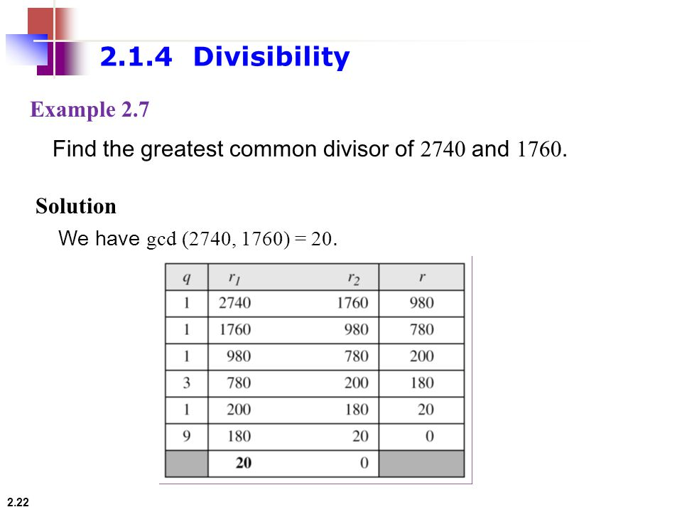 2.1.4 Divisibility Example 2.7. Find the greatest common divisor of 2740 and
