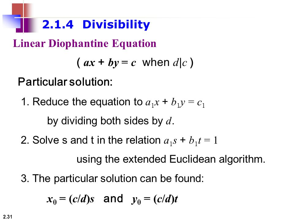 Linear Diophantine Equation ( ax + by = c when d|c )