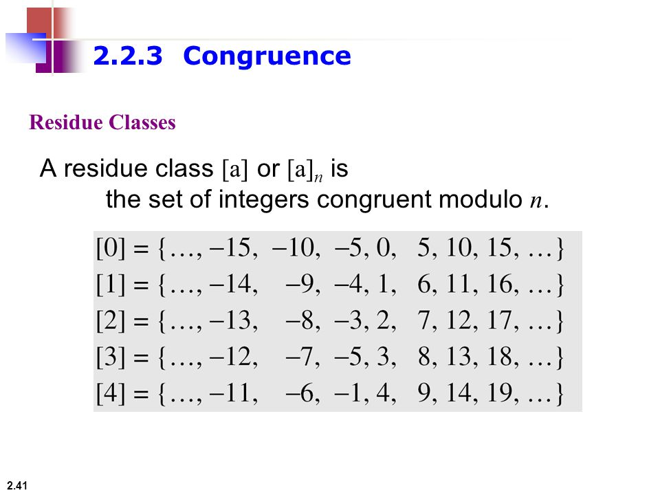A residue class [a] or [a]n is the set of integers congruent modulo n.