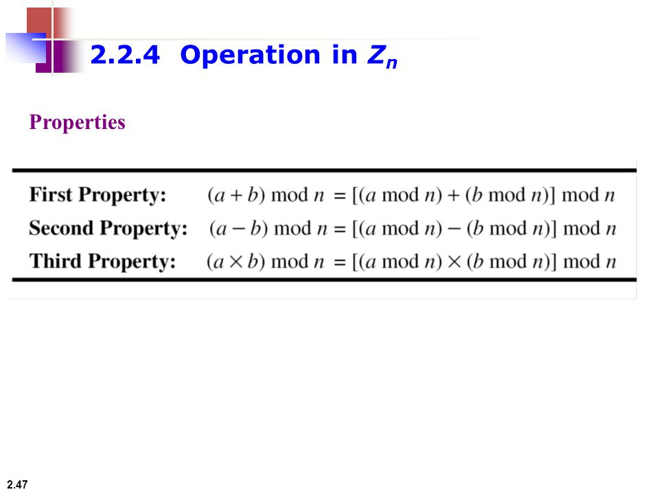 2.2.4 Operation in Zn Properties