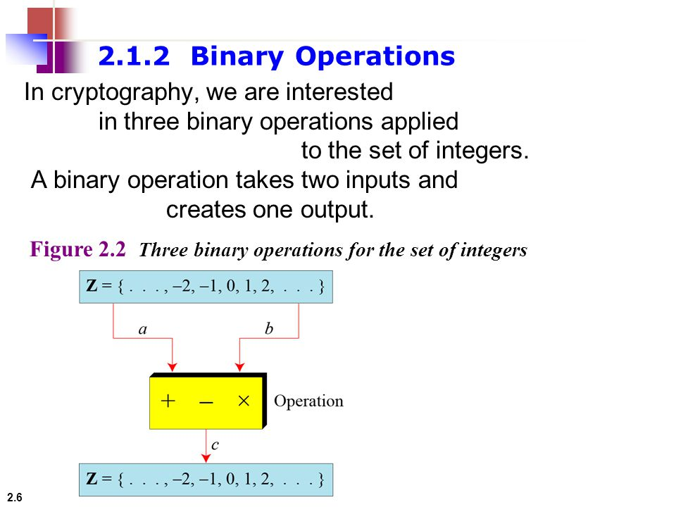2.1.2 Binary Operations In cryptography, we are interested