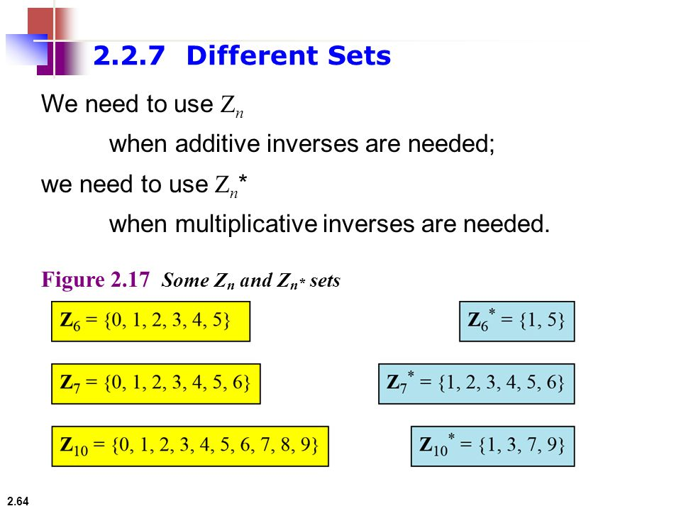 2.2.7 Different Sets We need to use Zn